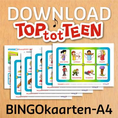 Grote Bingo-kaarten bij het TOP-tot-TEEN beweegspel